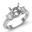 3 Stone Round Diamond Engagement Semi Mount Ring 14k White Gold Pave Setting 0.4Ct - javda.com