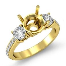 3 Stone Round Diamond Engagement Semi Mount Ring 14k Gold Yellow Pave Setting  (0.4Ct. tw.)