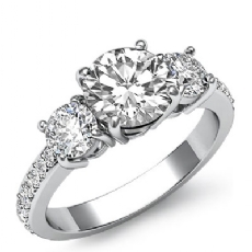 Basket Prong Set 3 Stone Round diamond engagement Ring in 14k Gold White