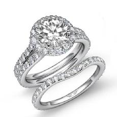 Split Shank Halo Bridal Pave Round diamond engagement Ring in 14k Gold White
