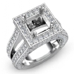 2.5Ct Diamond Engagement Ring Princess Semi Mount Halo Setting 14k White Gold - javda.com