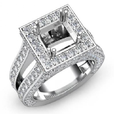 2.5Ct Diamond Engagement Ring Princess Semi Mount Halo Setting 14k White Gold