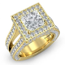 Split Shank Vintage Halo Princess diamond engagement Ring in 18k Gold Yellow