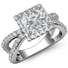 Split Shank Filigree Halo Princess diamond engagement Ring in 14k Gold White