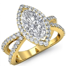 Split Shank Filigree Halo Marquise diamond engagement Ring in 14k Gold Yellow