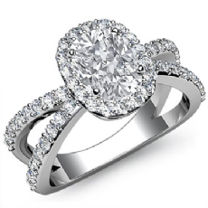 Split Shank Filigree Halo Cushion diamond engagement Ring in Platinum 950