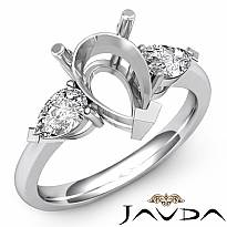 Pear Cut Semi Mount Three Stone Diamond Engagement Ring 14k W Gold Setting 1/2Ct