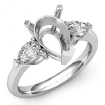 Pear Cut Semi Mount Three Stone Diamond Engagement Ring Platinum 950 Setting 0.5Ct - javda.com