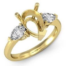 Pear Cut Semi Mount Three Stone Diamond Engagement Ring 18k Gold Yellow Setting  (0.5Ct. tw.)