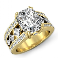 Bezel Set Double Prong Cushion diamond engagement Ring in 14k Gold Yellow