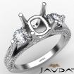Three Stone Cushion Diamond Engagement Ring Set 14k White Gold Semi Mount 1.2Ct - javda.com
