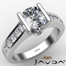 Masterwork Channel Tension Set Cushion diamond engagement Ring in 14k Gold White