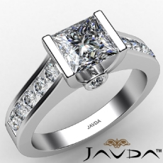 Accents Accent Channel Set Asscher diamond engagement Ring in 14k Gold White