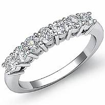 7 Stones Round Cut Diamond Women's Half Wedding Band Ring 14k White Gold 0.70Ct