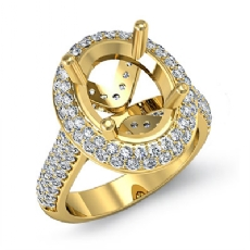 Diamond Engagement Ring Halo Pave Setting 14k Gold Yellow Oval Semi Mount  (1.5Ct. tw.)