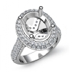 Diamond Engagement Ring Halo Pave Setting 14k White Gold Oval Semi Mount 1.5Ct - javda.com
