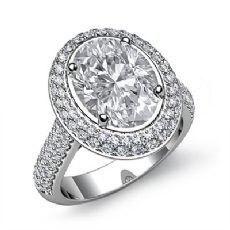 Gleaming Double Halo Pave Oval diamond engagement Ring in 14k Gold White