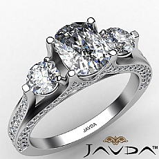 Three Stone Bridge Accent diamond Ring 14k Gold White