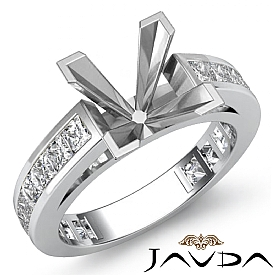 1.20Ct Princess Side Diamond Engagement Ring Channel Setting 14K W Gold Semi Mount