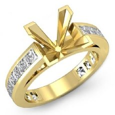 Princess Side Diamond Engagement Ring Channel Setting 18k Gold Yellow Semi Mount (1.2Ct. tw.)
