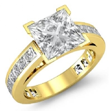 Channel-Set 4 Prong Peg Head diamond Ring 14k Gold Yellow