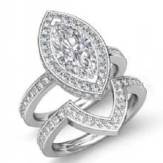 Circa Halo Pave Bridal Marquise diamond engagement Ring in 14k Gold White