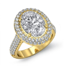 Double Halo Accent Bridge Oval diamond engagement Ring in 18k Gold Yellow