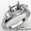 Three Stone Asscher Diamond Engagement Ring Set 14k White Gold Semi Mount 1.2Ct - javda.com