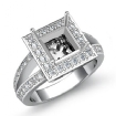 0.6Ct Diamond Engagement Ring Princess Semi Mount 14k White Gold Halo Setting - javda.com