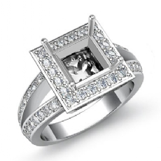 Diamond Engagement Ring Princess Semi Mount 14K White Gold Halo Setting 0.6Ct