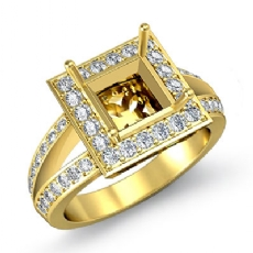 Diamond Engagement Ring Princess Semi Mount 14k Gold Yellow Halo Setting (0.6Ct. tw.)