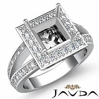 0.6Ct Diamond Engagement Ring Princess Semi Mount 14K White Gold Halo Setting
