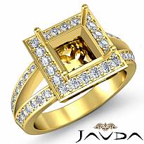Diamond Engagement Ring Princess Semi Mount 14k Gold Yellow Halo Setting (0.6Ct. tw.)