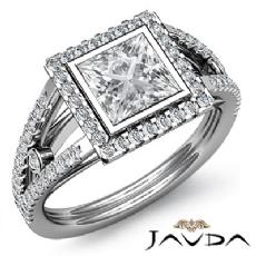 Bezel Halo Prong Setting Princess diamond engagement Ring in 14k Gold White