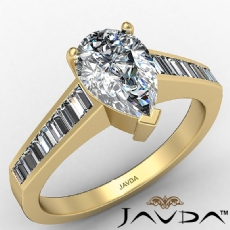 Channel Set Tapered Baguette Pear diamond engagement Ring in 14k Gold Yellow
