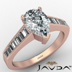 Channel Set Tapered Baguette Pear diamond engagement Ring in 14k Rose Gold