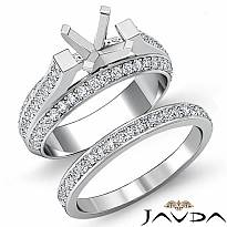 1.9 Ct Diamond Engagement Pave Ring Round Bridal Sets 14k White Gold Semi Mount