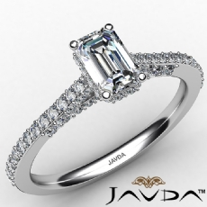 Pave Set Circa Bridge Accent Emerald diamond engagement Ring in 14k Gold White
