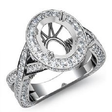 Diamond Engagement Halo Pave Setting Ring Oval Semi Mount 14K White Gold 1.52Ct