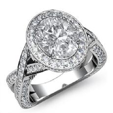 XOXO Style Halo Filigree Oval diamond engagement Ring in 14k Gold White