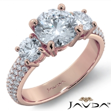 Classic Three Stone Pave Set Round diamond engagement Ring in 18k Rose Gold