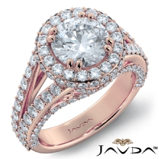 Split Shank Halo Bridge Accent Round diamond engagement Ring in 18k Rose Gold