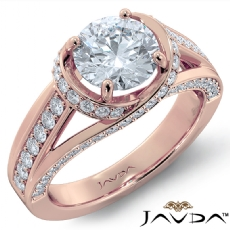 Bypass Design Micro Pave Set Round diamond engagement Ring in 18k Rose Gold