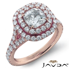 French Set Pave Double Halo Cushion diamond engagement Ring in 18k Rose Gold