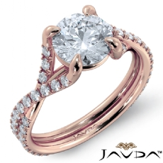 French V Pave Criss Cross Round diamond engagement Ring in 18k Rose Gold