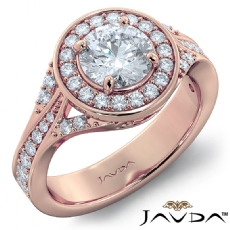 Graduated Halo Micro Pave Set Round diamond engagement Ring in 18k Rose Gold