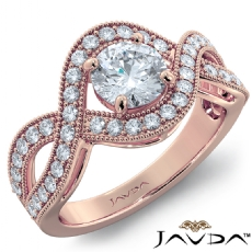 Milgrain Twisted Vine Pave Set Round diamond engagement Ring in 18k Rose Gold
