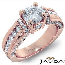 Pave Channel Set Accents Round diamond engagement Ring in 18k Rose Gold