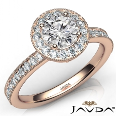 Milgrain Halo Micro Pave Set Round diamond engagement Ring in 14k Rose Gold