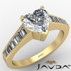 Baguette Channel Basket Set Heart diamond engagement Ring in 14k Gold Yellow